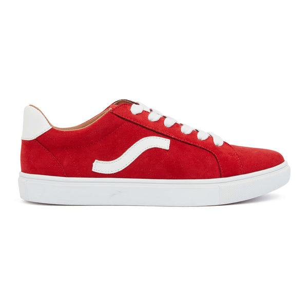 Swerve Sneaker in Red Suede