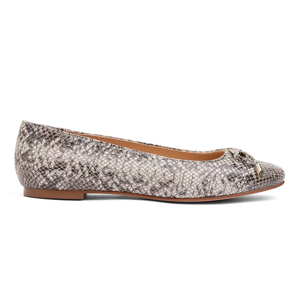 Tabbatha Flat in Snake Leather