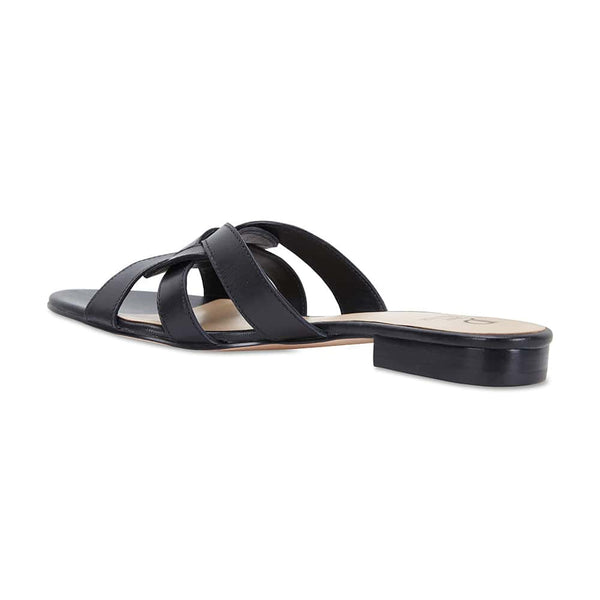 Tegan Slide in Black Leather