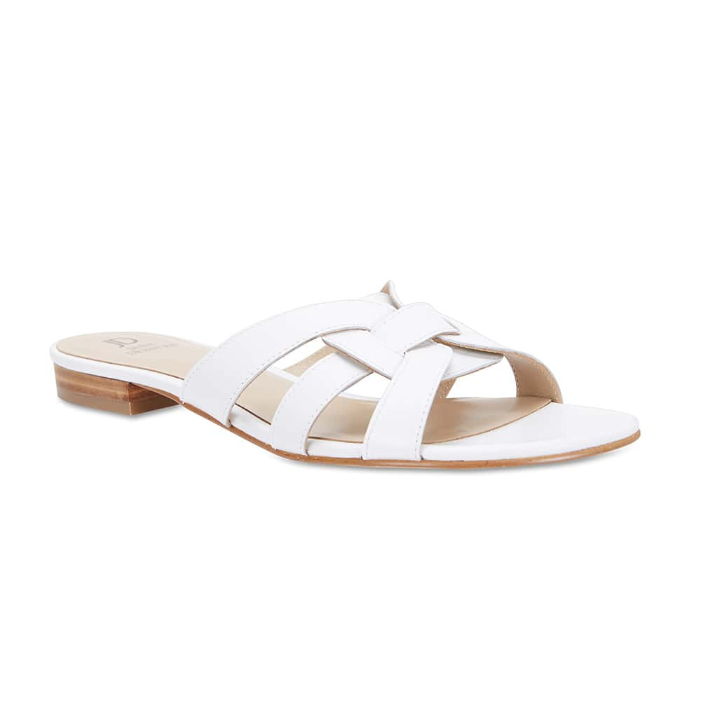 Tegan Slide in White Leather