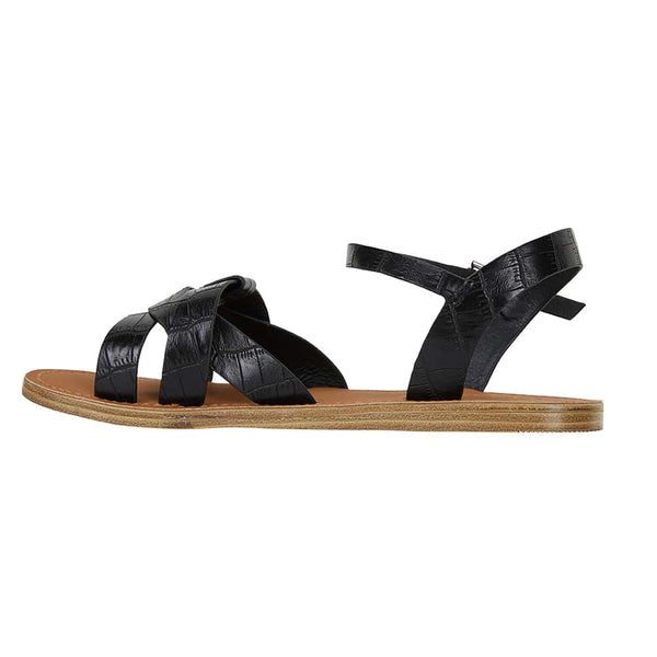 Toby Sandal in Black Smooth