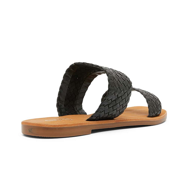 Tora Slide in Black Leather