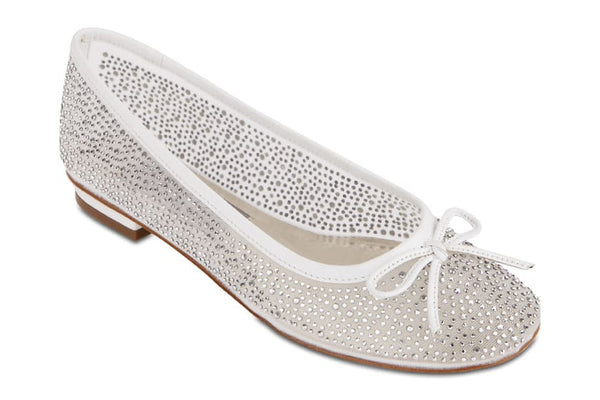 Twinkle Flat in White Satin