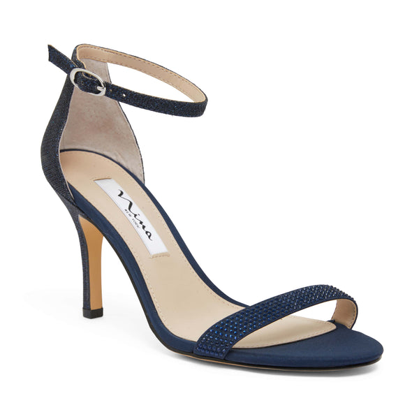 Veniza Heel in Navy Satin