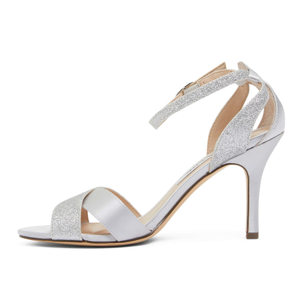 Venus Heel in Silver Satin