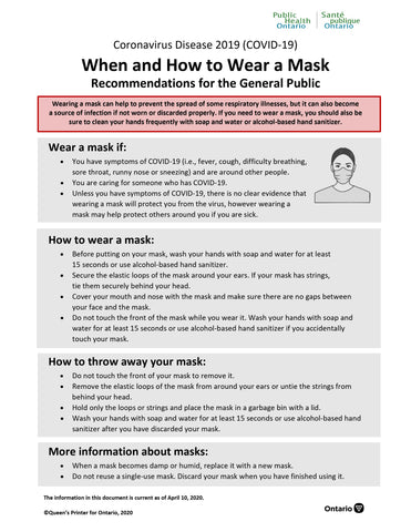 When and How to Wear a Face Mask by Public Health Ontario