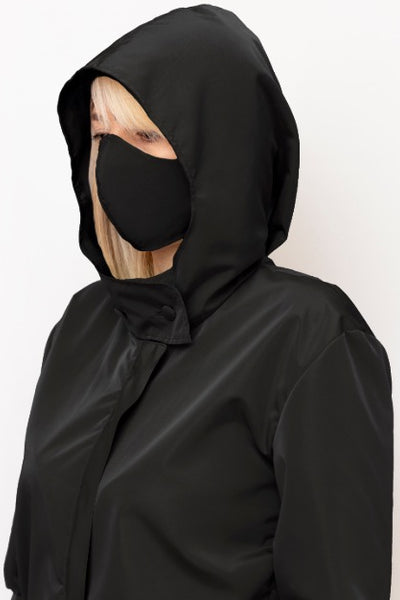 Black Double Layer, Reusable Face Mask - Made in Italy