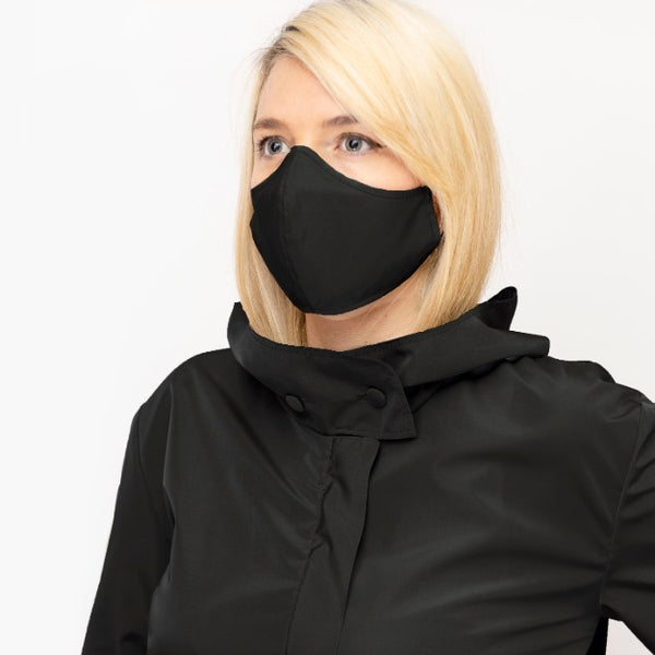 Black Double Layer, Reusable Face Mask - Made in Italy - PiaKo Store