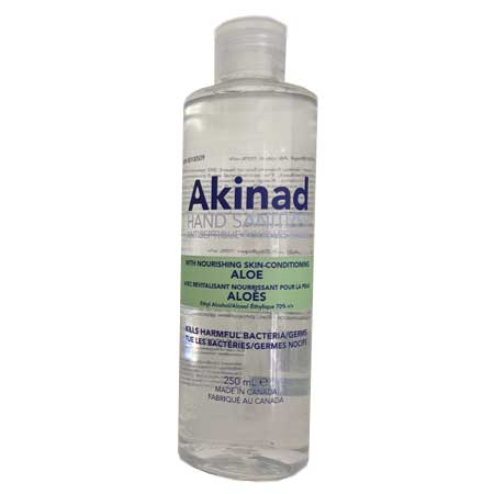 Akinad Hand Sanitizer – 70% Ethyl Alcohol With Aloe – 250 mL - PiaKo Store