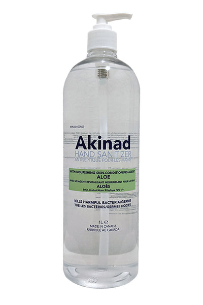Akinad Hand Sanitizer – 70% Ethyl Alcohol With Aloe – 1L