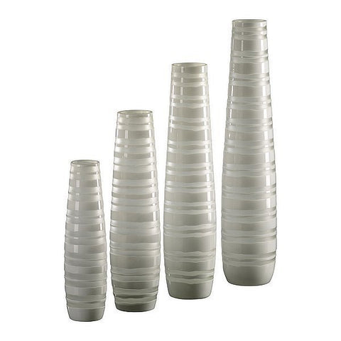 Cyan Design Medium White Matte Stripe Vase - 01674 - Chachkies