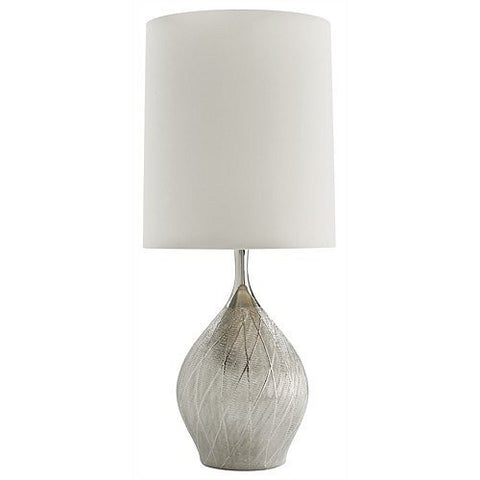 Arteriors Home Carey Metallic Silver Mesh Porcelain Table Lamp - Chachkies
