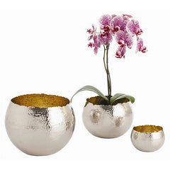Arteriors Home Alessandria Polished Nickel Hammered Bowls, Set/3 - Chachkies