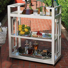 Global Views Grid Block Bar Cart-White - Global Views 2478 - Chachkies