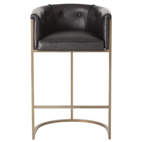 Arteriors Home Calvin Leather/Antique Brass Barstool - Chachkies