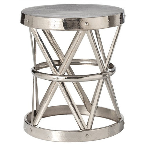 Arteriors Home Costello Iron Side Table in Polished Nickel, Large - Chachkies