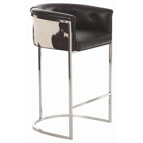 Arteriors Home Calvin Leather/Hide/Polished Nickel Barstool - Chachkies