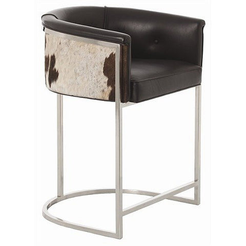 Arteriors Home Calvin Leather/Hide/Polished Nickel Low Barstool - Chachkies