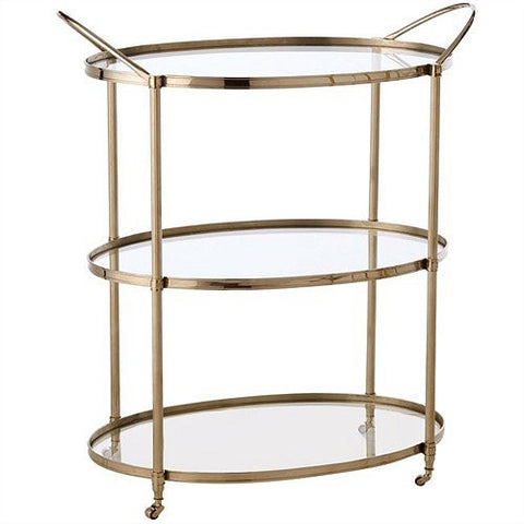 Arteriors Home Connaught Polished Nickel Bar Cart - Chachkies