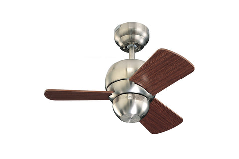 "Monte Carlo 24"" Micro 24 Fan - Brushed Steel - Ceiling Fan 3TF24BS - Chachkies"