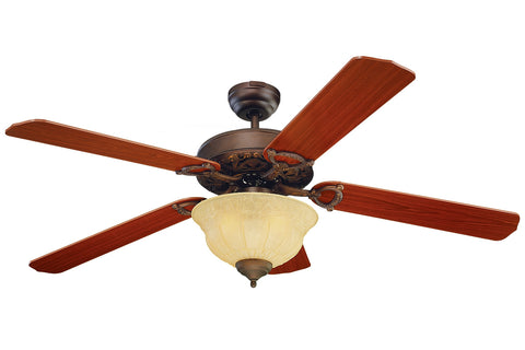 "Monte Carlo 52"" Ornate Elite Fan - Roman Bronze - Ceiling Fan 5OR52RBD-L - Chachkies"