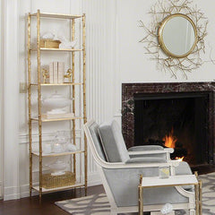 Global Views Arbor Etagere-Brass & White Marble - Global Views 8-82035 - Chachkies