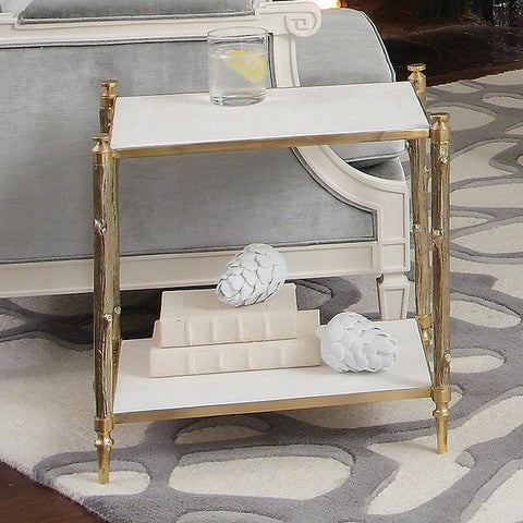 Global Views Arbor Side Table-Brass & White Marble - Global Views 8-82037 - Chachkies