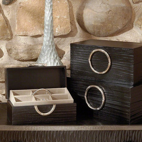 Global Views Artisan Jewelry Box-Black/Nickel-Med - Global Views 9-91018 - Chachkies