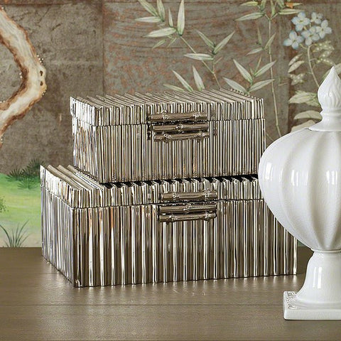 Global Views Corrugated Bamboo Box-Nickel-Lg - Global Views 9-92036 - Chachkies