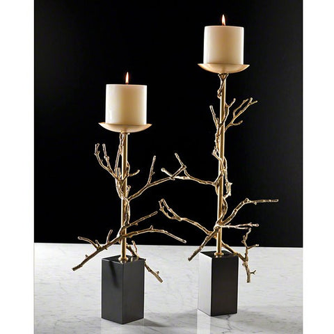 Global Views Twig Candleholder-Brass-Sm - Global Views 9-92059 - Chachkies