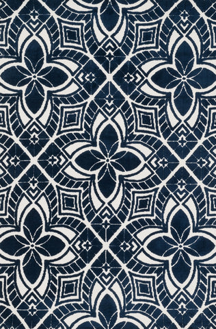 "Loloi Rugs - Cassidy - 7'-6"" X 9'-6"" - Ivory / Navy - Chachkies"