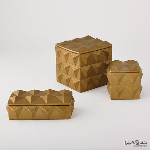 Global Views Braque Box-Matte Gold-Lg - Global Views D8-80136 - Chachkies