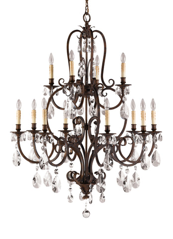 Feiss 12 Bulb Aged Tortoise Shell Chandelier
