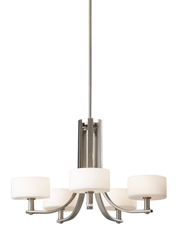 Feiss 5 Bulb Brushed Steel Chandelier