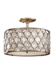 Feiss 3 Bulb Burnished Silver Semi flushmount