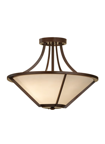 Feiss 3 Bulb Heritage Bronze Semi-Flush Fixture