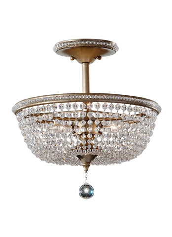 Feiss 3 Bulb Burnished Silver Semi-Flush Fixture