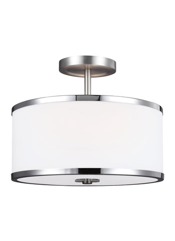 Feiss 2 - Light Semi-Flush Satin Nickel / Chrome