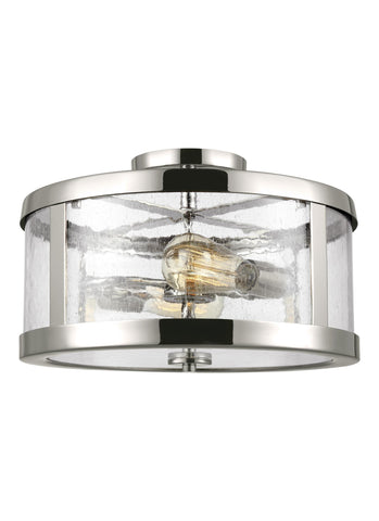 Feiss 2 Light Polished Nickel Semi Flushmount