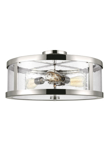 Feiss 3 Light Polished Nickel Semi Flushmount