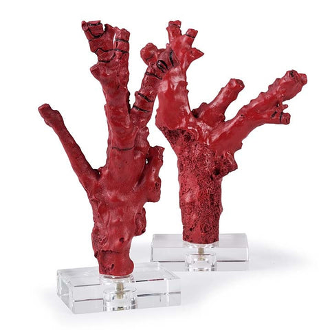 Regina Andrew Pair of Red coral branches on crystal - 2-6807 - Chachkies