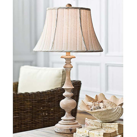 Regina Andrew Wood Spindle with Whitewash Natural Finish Lamp - 405-187 - Chachkies