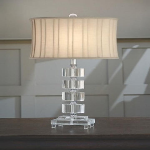 Regina Andrew Crystal Segmented Ovals Lamp with Pleated Shade - 405-607PLT - Chachkies