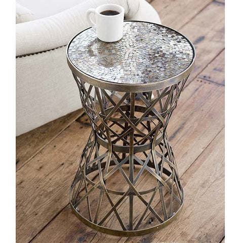 Regina Andrew Woven Brass Table with Amber Mosaic Top - 5-6763 - Chachkies