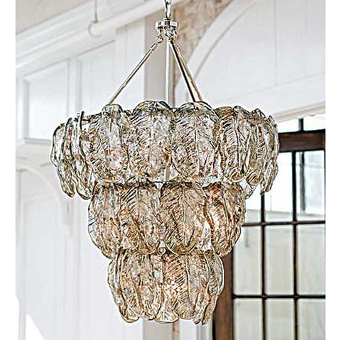 Regina Andrew Silver Glass Leaves Chandelier - 505-205 - Chachkies