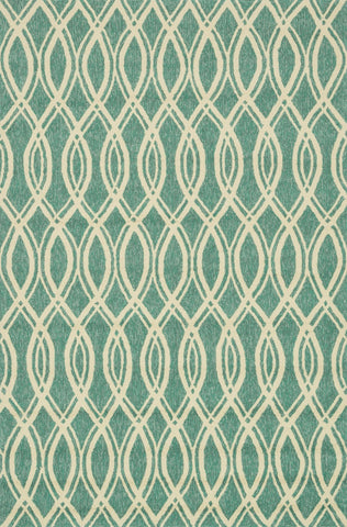 "Loloi Rugs - Venice Beach - 7'-6"" X 9'-6"" - Turquoise / Ivory - Chachkies"