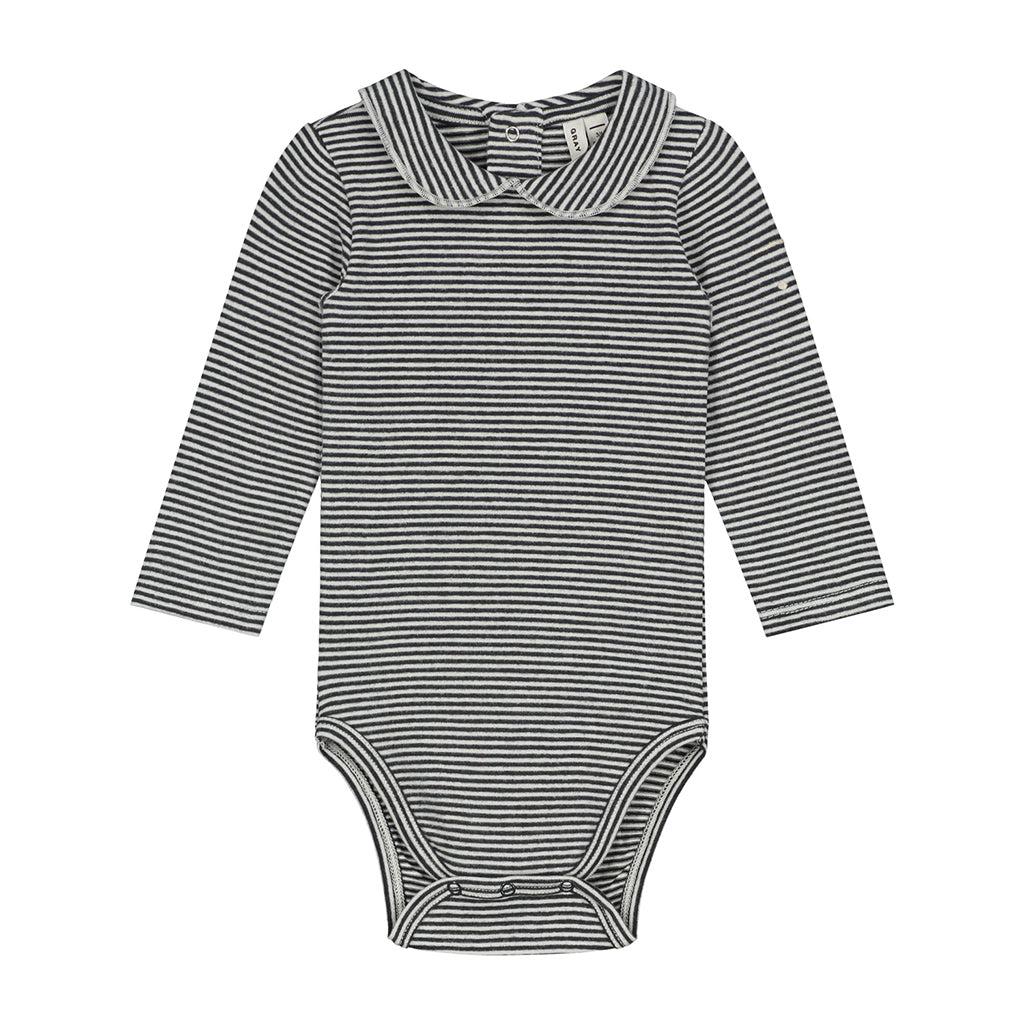 Onesie With Collar Nearly Black / Cream