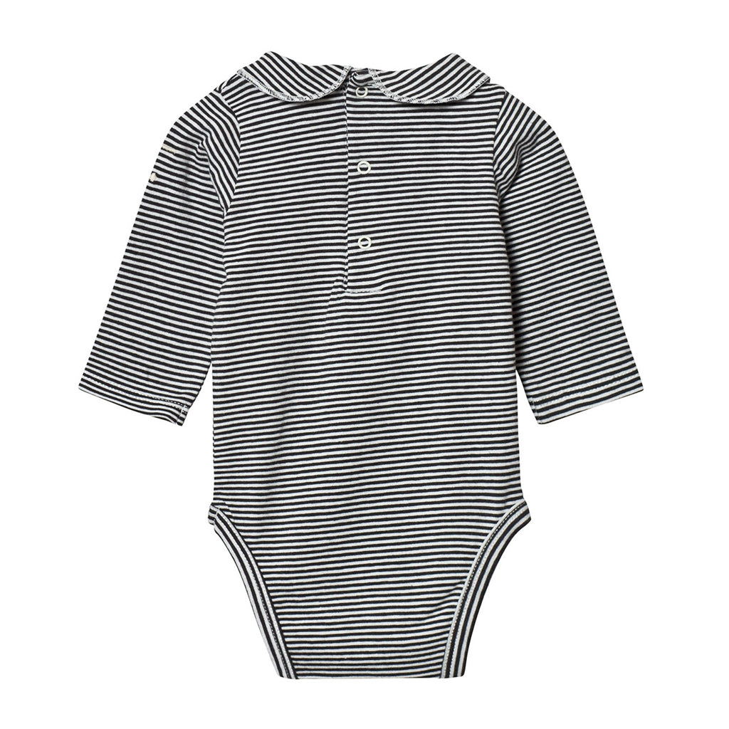 Onesie With Collar Nearly Black / Off White