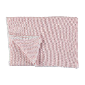Baby Blanket Knit Pale Pink White