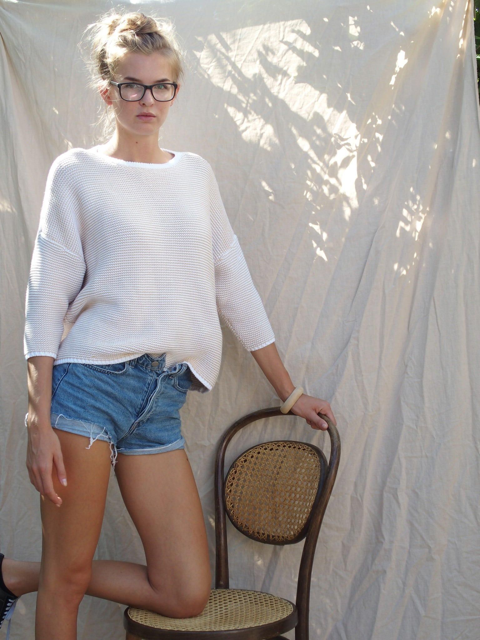 Cardigan Knit Sage White Adult